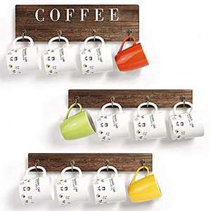 Dare Tobe Coffee Mug Holder Shelf,Coffee Bar Decor,Rustic Wood Wall Mounted Cups Rack with 12 Hooks for Home Kitchen,Display Storage Collection Organizer,Cup Hangers with Coffee Sign,Set of 3