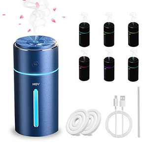 HGV Car Aromatherapy Humidifier, Car Diffuser, USB Essential Oil Diffuser Ultrasonic Car Humidifier Aromatherapy Diffusers with Intermittent/Continuous Mist for Office Travel Home Vehicle (Blue)