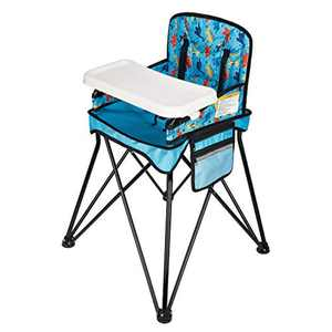 VEEYOO Portable Travel High Chair - Baby High Chair for Indoor/Outdoor, Dining, Travel, Camping, Picnic, Foldable with Removable Tray and Carry Bag, Dinosaur Print