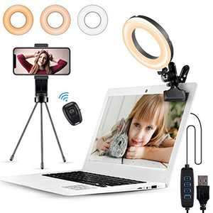 Video Conference Lighting, Witzon Ring Light for Laptop Computer with Clip Clamp Mount Desk Tripod Stand Phone Holder Small Mini LED Selfie Lights for Zoom Meeting/Live Stream/Video Recording/Makeup