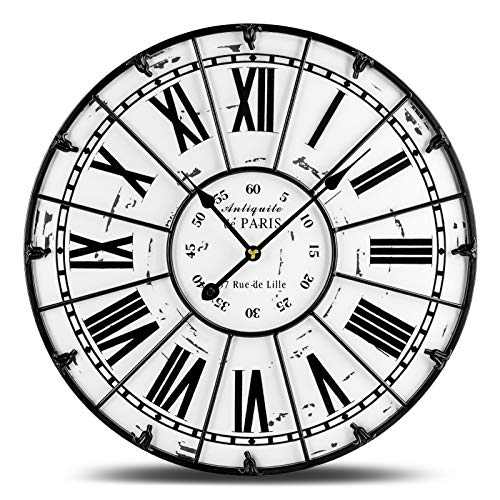 SOCIAL DISTANCING Wall Clock 18 inch Decorative Clocks for Living Room Decor, Home, Bedroom, Office, Kitchen European Retro Large Clock Roman Numerals, Non-Ticking Battery Operated