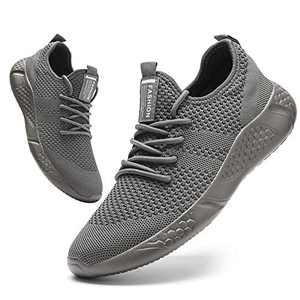 Damyuan Mens Running Shoes Lightweight Athletic Walking Gym Shoes Casual Sports Shoes Fashion Sneakers Grey