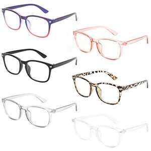MIGSIR 6 Pack Blue Light Blocking Glasses for Computer Gaming, Fashion Fake Anti Eye Strain Eyeglasses for Women Men (6 pack mix)