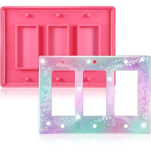 Switch Plate Resin Mold Triple Rocker Switch Silicone Mold Electric Outlet Cover Mold Light Switch Socket Epoxy Mold for DIY Switch Plate Socket Panel Crafts Making