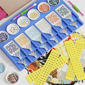 32Pcs Diamond Tray Organizer Accessories Kit -12 Slots Diamond Trays Ideal Gift for Adults Craft Arts, Number Stickers, Pen Grips - Sapphire Blue