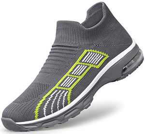 SILLENORTH Women's Laceless Non Slip Breathable Walking Shoes Gym Sneaker 6.5 Gray