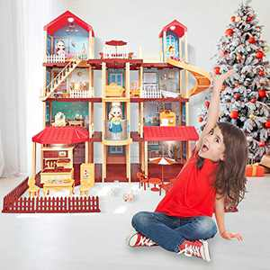 ORILEDA Doll House, Dream House, Princess Dollhouse, Kid Craft Doll Houses, Elevator and Sky Garden, Doll House Family Sets, Doll Houses for Little Girls 3 Yrs, Doll House 4-5 Year Old