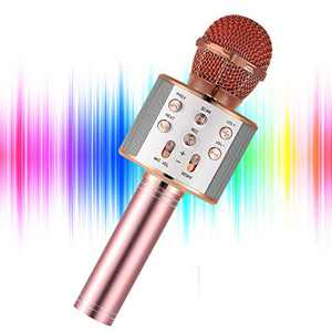 YOHIA Portable Handheld Karaoke Microphone for Kids, Hot Toy Gifts for Girls Teens, Wireless Bluetooth Mic for Android/iPhone/iPad (Rose Gold)
