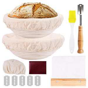 Proofing Basket, WanderLand Banneton Basket, Bread Proofing Basket Set, 2 Set 9 &10 Inch Round Sourdough Proofing Basket, with Dough Scraper, Bread Lame, Cloth Liner and Brush, for sourdough breads