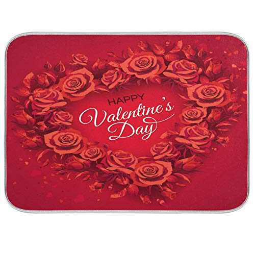 Happy Valentine's Day Romantic Rose Flower Dish Drying Mat 18x24 inch Absorbent Reversible Microfiber Mat Dish Dry Pad Protector for Kitchen