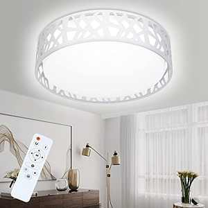 LED Flush Mount Ceiling Light Fixtures, 15 Inch Dimmable & 3 Color Temperature Round Lighting Fixture 20W 1400 Lumens 3500K-6000K Remote Control Flush Mount Light Fixture for Bedroom, Living Room
