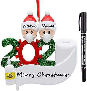 MKSENSE Personalized 2020 Christmas Ornaments Quarantine Family with Toilet Paper Hanging Ornament for Christmas Decorations Tree Home Decor Xmas Gifts (2 People)