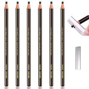 Waterproof Eyebrows Pencil Tattoo Makeup And Microblading Supplies Kit-Permanent Eye Brow Liners In 5 Colors Waterproof Eyebrow Pencils Peel - Brow Pencil Set For Marking (6 Dark Brown)