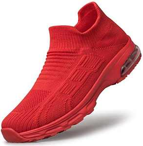 SILLENORTH Women's Laceless Non Slip Breathable Walking Shoes Gym Sneaker 9.5 Red