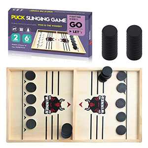 Fast Sling Puck Game,2 Player Family Board Games for Kids and Adults,Wooden Hockey Tabletop Game Sling Puck,Fun Family Table Slingshot Games, Gifts for Kids Classroom Exchange Party,