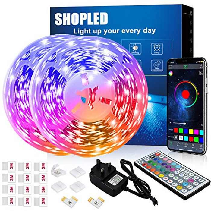 Led Strip Lights 12M, SHOPLED Bluetooth Music Sync SMD 5050 RGB Led Lights with App Control, 44 Keys Remote Control for Bedroom, Kitchen, TV, Party, Room Decoration