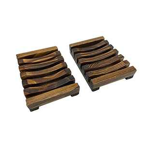 MENORCA Eco-Friendly Handmade Wooden Soap Dish Holder with Drain Tray for Rustic Farmhouse Shower Bathroom Decor, Wood Bamboo Oil Rubbed Bronze Soap Dishes for Bar Soap for Kitchen Sink for Travel