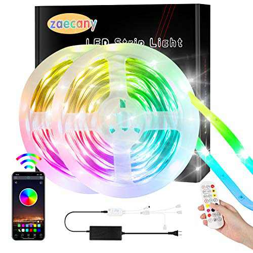Zaecany 15M/49.2FT Led Strip Lights With Remote, Bluetooth APP, Box Controller for Bedroom, Flexible RGB Tape Lights for Ceiling Decoration, Dimmable Color Changing, Music Sync for Party, Holiday,Home