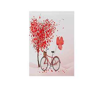 """Red Love Heart Bicycle Valentine's Day Fabric Garden Flags Banner Double Sided for Indoor & Outdoor Decoration Party 12"""" x 18"""""""