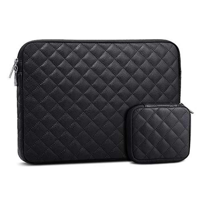 AtailorBird Laptop Sleeve 14 Inch, Waterproof PU Leather Diamond Shaped Notebook Protective Bag for Ultrabook Tablet Cover Case with Small Case, Black