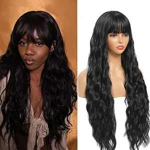 Sylhair Wig with Bangs 30 inch Long Wavy Wigs for Women Synthetic Black Wavy Wigs for Daily Use Full Heat Resistant Fiber (Color : #1B)