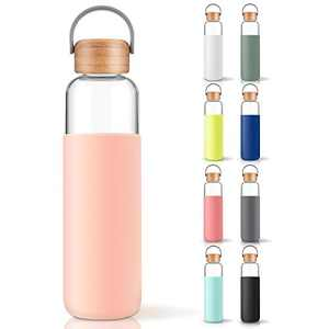 veegoal 20 Oz Borosilicate Glass Water Bottle with Bamboo Lid and Protective Sleeve-Bpa Free and Dishwasher Safe (Pink)