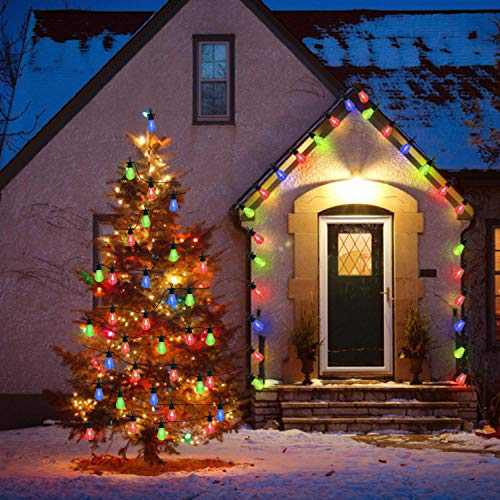 Twinkle String Light Commercial - 33Ft with 20 LED Energy Saving Bulbs Waterproof Hanging Lights for Wedding Patio Garden Porch Backyard Party Balcony Deck Yard Christams Decor - ST14 Multicolor