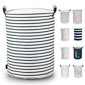 Caroeas 19.5-Inches THICKEN X-Large Laundry Basket, Waterproof Large Laundry Basket Drawstring Closure, Collapsible Laundry Basket with Handles, Laundry Hamper Easy Storage, Clothes Hamper