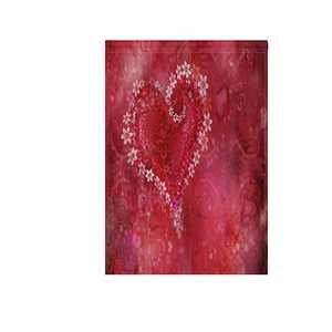 """Happy Valentines Day Floral Heart Fabric Garden Flags Banner Double Sided for Indoor & Outdoor Decoration Party 12"""" x 18"""""""