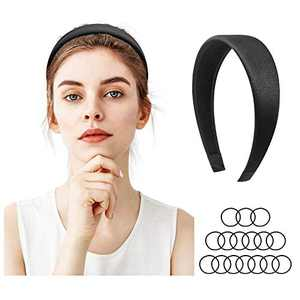 Headband for Women, Kuaima 1.57 Inch Wide Headbands Satin Non Slip Hair Hoops Black Hair Band Fashion Hair Accessories with 16pcs Free Hair Ties-(1 Set)