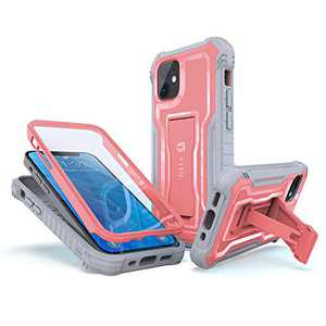 FITO Compatible with iPhone 12 Mini Case, Dual Layer Shockproof Heavy Duty Case for Apple iPhone 12 Mini, Built-in Screen Protector and Kickstand (Pink, 5.4 inch)