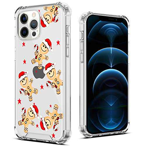"OOK Designed for iPhone 12/12 Pro Christmas Case Clear Design Pattern Slim Cover Case for Women Girls Transparent Shockproof Protective Back Phone Case for iPhone 12/12 Pro 6.1"" (Gingerbread Man)"