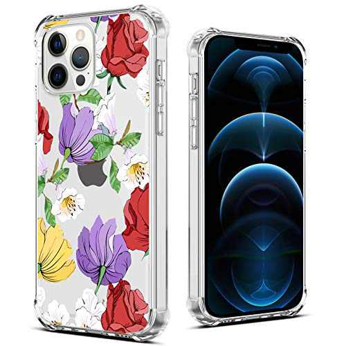 "OOK Designed for iPhone 12 Pro Clear Case Red Rose Flower Blossom Design Cover Case for Women Girls Slim Transparent Protective Shockproof Hard Back Purple Floral Case for iPhone 12/12 Pro 6.1"" 2020"