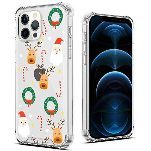 "OOK Designed for iPhone 12 Pro Max Christmas Case Clear Design Pattern Cute Slim Cover Case for Women Girls Transparent Shockproof Protective Back Phone Case for iPhone 12 Pro Max 6.7"" Deers"