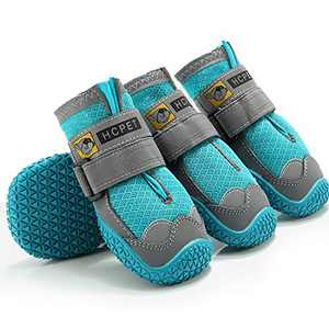 FEETCITY Dog Boots Waterproof for Dog with Reflective Velcro Rugged Anti-Slip Sole and Skid-Proof Outdoor Paw Wear for Medium to Large Dogs 4Ps