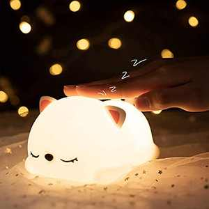 Night Light for Kids Room, 7 Colour Changing Soft Light for Sleep Aid, Pacify Baby Mood Night Light, USB Rechargeable Protable Night Light,Cute Little Cat Night Light for Kawaii Room Decor Girl Gifts