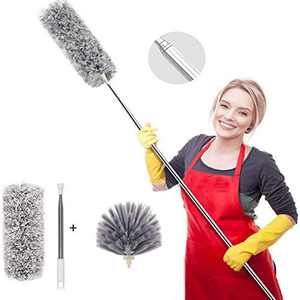 """Feather Duster Cobweb Brush Extendable Pole Up to 100"""", Bendable Microfiber Duster for Cleaning Ceiling Fan, High Ceiling High Window Sills, etc."""