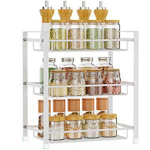 Spice Rack, Veckle 3 Tier Kitchen Bathroom Counter Rack Desktop Organizer Pantry Shelf Multipurpose Storage Standing Rack (White)