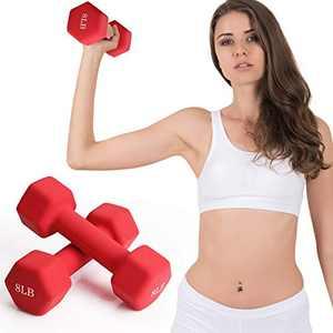 FutureCharger Dumbbells 8 lbs Pair Set of 2 Neoprene Dumbbells Hand Weights Hex Dumbbells Lifting Dumbbell Barbell Fitness Dumbbell for Women/Mens Home Gym Workout Full-Bodybuilding Sculpting Training