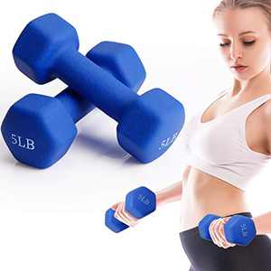 FutureCharger 5LB Dumbbell Weights Set of 2 Neoprene Dumbbell Hand Weights, Lifting Dumbbells, Free Weights Fitness Dumb bell for Home Gym Workout Strength Weight Training, Muscle Toning, Weight Loss