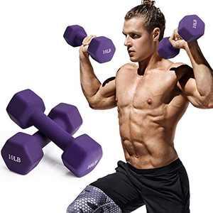 FutureCharger Dumbbell Weights, 10LB Neoprene Dumbbell Hand Weights Set of 2, Free Weights Dumbbell Barbell Fitness Dumbbell Home Gym Workout Equipment for Women/Men Strength Building, Body Sculpting