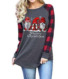 Christmas Plaid Shirt Women Funny Graphic T-Shirt Gnomes Tee Splicing Baseball Tops Holiday Clothes (Dark Gray 6, S)