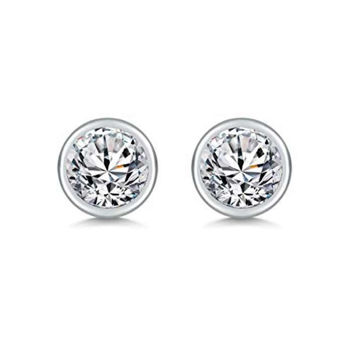 SAKUNALA Silver Stud Earrings for Women, 925 Sterling Silver Zirconia Stud Earrings, Small Round White Cubic Zirconia Sleeper Cartilage Studs, Gold Tiny Unisex Studs Earrings, Size: 2, 3, 4, 5, 6mm