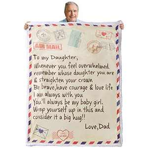 """Warm Fleece Throw Blanket to My Daughter Blanket from Dad Mom Letter Hug Blanket Printed Quilts Airmail Blanket Healing Thoughts Positive Encouragement Blanket Gifts to Daughter (55"""" x 70"""" Inch)"""