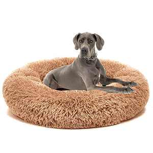 AI EN JIU Dog Bed Cat Bed Super Soft Faux Fur Washable Donut Pet Bed for Dog Puppy Cat Anti-Slip & Water-Resistant Bottom Keep Warm and Improved Sleep