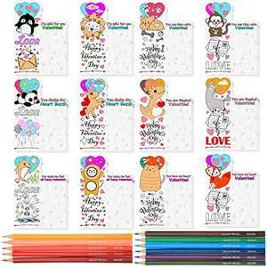 Zonon 48 Pieces Valentines Day Card Bookmark Valentines Day Greeting Cards with 12 Pieces Colorful Pencil for Valentine's Classroom Exchange Valentine Party Favors