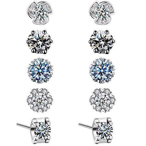 (5 Pairs) Stud Earrings For Women,925 Silver Plated Earring Set,Hypoallergenic Cubic Zirconia Earings Jewelry Gift