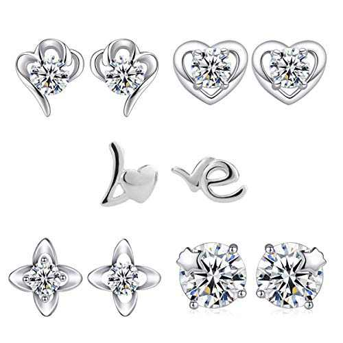 (5 Pairs) Stud Earrings For Women,925 Silver Plated Earring Set,Hypoallergenic Cubic Zirconia Earings Jewelry Gift