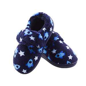Boys Spaceship Memory Foam House Slippers Warm Bedroom Shoes with Hook and Loop Indoor/Outdoor Toddler US 6-7 Blue