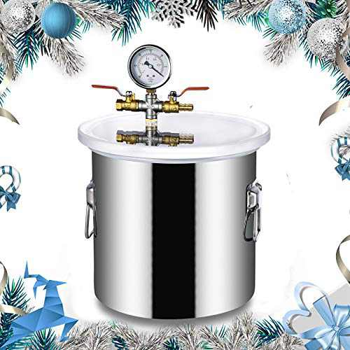 3 Gallon Vacuum Chamber,12L Pressure Pot,Acrylic acid Lid Stainless Steel Vacuum Degassing Chamber kit,Perfect for Pressure Pot for Resin Casting,w/3 CFM Pump Hose (Shipping from USA) (3 Gallon)